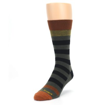 Image of Rust and Green Block Stripe Men's Lifestyle Socks (side-2-front-07)