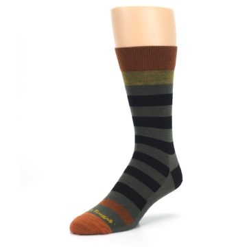 Image of Rust and Green Block Stripe Men's Lifestyle Socks (side-2-front-08)