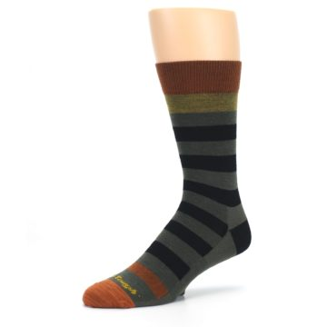 Image of Rust and Green Block Stripe Men's Lifestyle Socks (side-2-09)