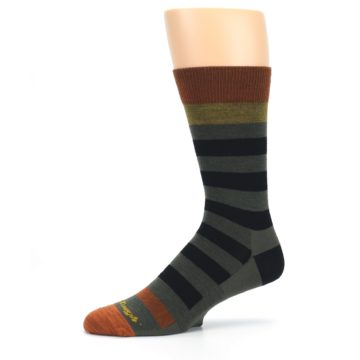 Image of Rust and Green Block Stripe Men's Lifestyle Socks (side-2-10)