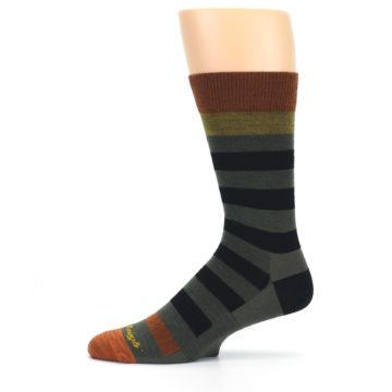 Image of Rust and Green Block Stripe Men's Lifestyle Socks (side-2-11)