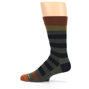 Image of Rust and Green Block Stripe Men's Lifestyle Socks (side-2-12)
