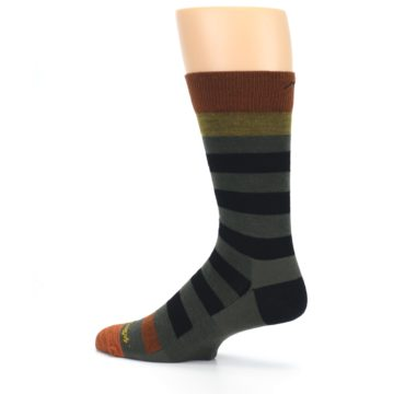 Image of Rust and Green Block Stripe Men's Lifestyle Socks (side-2-13)