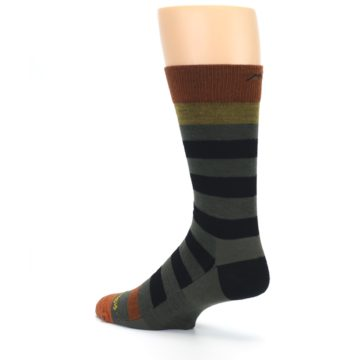 Image of Rust and Green Block Stripe Men's Lifestyle Socks (side-2-back-14)