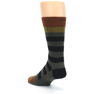 Image of Rust and Green Block Stripe Men's Lifestyle Socks (side-2-back-15)