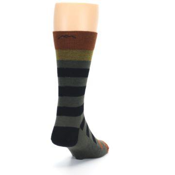 Image of Rust and Green Block Stripe Men's Lifestyle Socks (side-1-back-20)