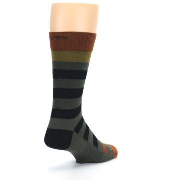 Image of Rust and Green Block Stripe Men's Lifestyle Socks (side-1-back-21)
