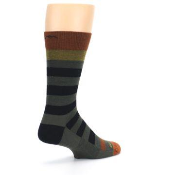 Image of Rust and Green Block Stripe Men's Lifestyle Socks (side-1-back-22)