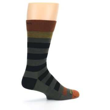 Image of Rust and Green Block Stripe Men's Lifestyle Socks (side-1-23)