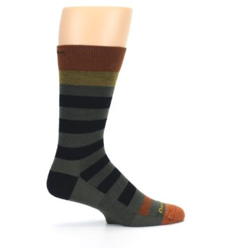 Image of Rust and Green Block Stripe Men's Lifestyle Socks (side-1-24)