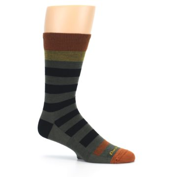 Image of Rust and Green Block Stripe Men's Lifestyle Socks (side-1-25)
