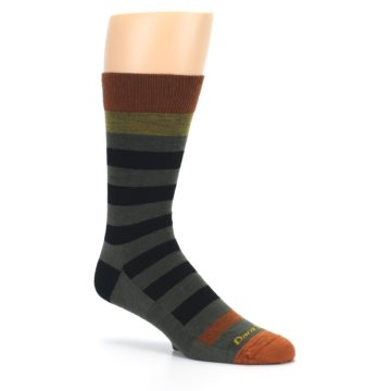 Image of Rust and Green Block Stripe Men's Lifestyle Socks (side-1-26)