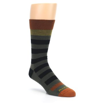 Image of Rust and Green Block Stripe Men's Lifestyle Socks (side-1-27)