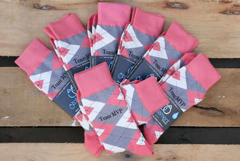 Coral and Gray Argyle Customized Date Groomsmen Dress Socks|Coral and Gray Argyle Customized Date Groomsmen Dress Socks
