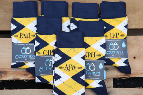 |Monogram Golden Yellow Navy Argyle Men's Dress Socks