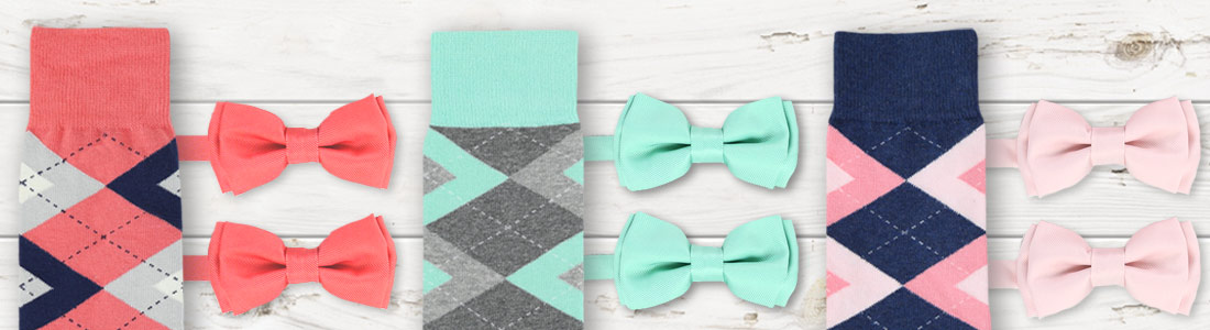 Example of Sock and Bow Tie Groomsmen Kits from boldSOCKS