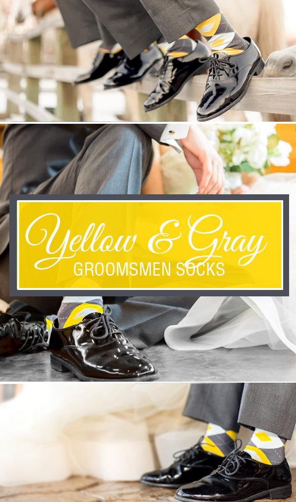 Example of Yellow Gray Argyle Men's Groomsmen Wedding Socks from boldSOCKS