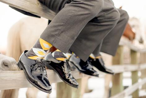 |Yellow and Gray Groomsmen Socks|